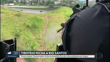 Tiroteio fecha Rio-Santos - Polícia diz que interdição foi por segurança e que conflito era entre bandidos. Pelo terceiro dia teve tiroteio na cidade No fim de semana, governador prometeu acabar com a criminalidade na região