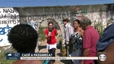 O RJ Móvel abriu a semana em Campo Grande - Moradores do bairro cobram uma passarela pra atravessar a linha do trem, em frente a uma escola pública