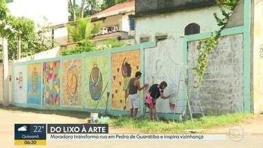 Moradora de Pedra de Guaratiba transformou lixo em arte - As pinturas de Níria Costa conscientizaram os moradores do bairro sobre descarte de lixo em áreas impróprias.