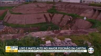 Lixo e mato alto no maior piscinão da Capital - Inaugurado em 2017 o piscinão Guamiranga, na região da Vila Prudente acumula problemas.
