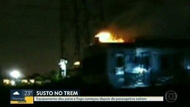 Trem pega fogo em Madureira - Viagem tinha como destino Belford Roxo, mas pane causou incêndio.