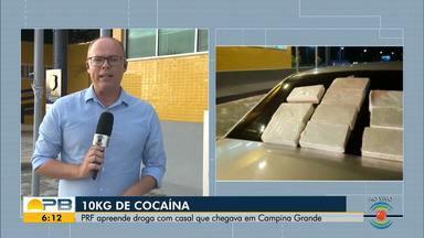 Casal é preso com 10 quilos de cocaína dentro de carro, em Campina Grande - Polícia Rodoviária Federal abordou o casal em um veículo que estava indo de Natal, no Rio Grande do Norte, para Campina Grande.