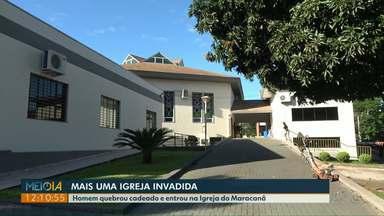 Homem quebra cadeado e entra em igreja - Esse é o segundo caso em Foz do Iguaçu nos últimos dias.