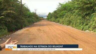 Trabalhos paliativos na Estrada do Belmont - DER está no local trabalhando.
