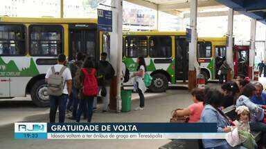 Idosos voltam a ter ônibus de graça em Teresópolis, no RJ - Assista a seguir.