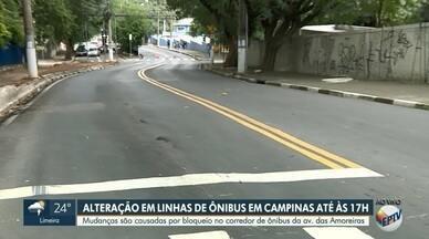 Bloqueio parcial de corredor de ônibus da Amoreiras afeta 21 linhas em Campinas - Um trecho do corredor de ônibus da Avenida das Amoreiras, em Campinas (SP) ficará fechado até às 17h deste sábado (18). Confira as linhas afetadas.