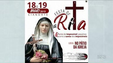 Hoje e amanhã tem festa de Santa Rita de Cássia em Cianorte - Amanhã tem celebração às 8 horas da manhã, depois cavalgada e almoço.