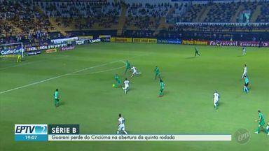 Guarani perde do Criciúma na abertura da quinta rodada da Série B - Apesar de ter um jogador a mais em campo por quase todo o 2º tempo, Bugre foi derrotado pelo Criciúma na abertura da quinta rodada do Campeonato Brasileiro da Série B.
