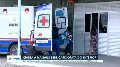 Chega a Manaus bebê cardiopara do interior do AM - Por determinação da Justiça, menor foi trazida com urgência em UTI aéreo.