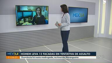 Homem leva 12 facadas em tentativa de assalto - Crime foi na avenida Morangueira.