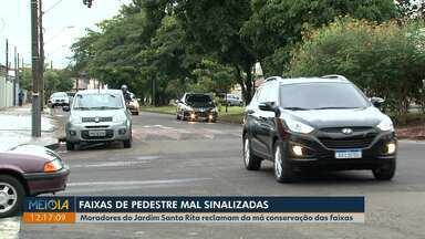 Moradores do Jardim Santa Rita reclamam de sinalização de trânsito mal conservada - O telespectador Paulo enviou um vídeo reclamando das pinturas do Danta Rita e o Meio Dia Paraná cobrou respostas.