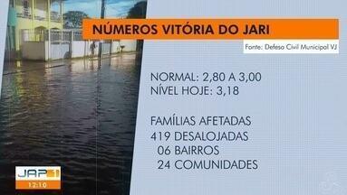 Prefeitura de Vitória do Jari, no AP, decreta situação de emergência em função das chuvas - Em Laranjal, segundo dados da Defesa Civil, um total de 50 pessoas foram atingidas pela cheia.