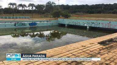 Imagens mostram água parada na antiga piscina de ondas, no Parque da Cidade - A Secretaria de Esportes respondeu que vai esvaziar a piscina nos próximos dias.