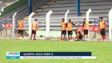Real busca a terceira vitória em deste sábado contra o Manaus no Gentil Valério de Lima - O jogo será neste sábado, às sete e meia da noite