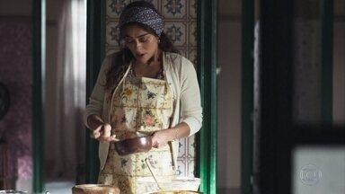 Maria começa a fazer os bolos para vender - A jovem se lembra de Amadeu