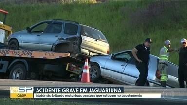 Motorista bêbado atropela família e mata 2 pessoas no interior do estado - Esposa de uma das vítimas foi internada com ferimentos no hospital de Jaguariúna