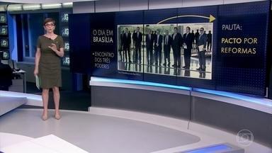 Bolsonaro se reúne com presidentes da Câmara, do Senado e do STF para discutir reformas - O presidente Jair Bolsonaro recebeu Rodrigo Maia, Davi Alcolumbre e Dias Toffoli, em Brasília. No enconro, falou-se num pacto em prol das reformas econômicas e de medidas para a segurança públuca.