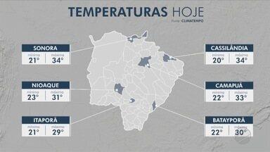 Quarta-feira de sol com pancadas de chuva no sul de MS - O ar seco ainda mantém o tempo firme sobre Mato Grosso do Sul.