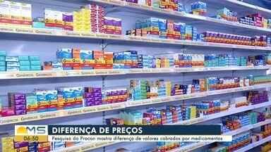 Preços de medicamentos variam até 1.385% em Campo Grande, aponta Procon - A pesquisa foi de 15 a 24 de maio, envolvendo 16 farmácias e drogarias em Campo Grande.