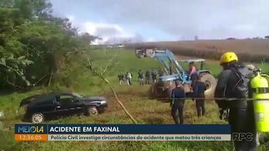Polícia Civil investiga circunstâncias do acidente que matou três crianças - A polícia civil de Faxinal vai investigar se o carro foi arrastado pelas águas ou se houve imprudência do motorista.