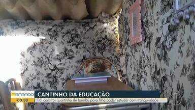 Pai constrói quartinho de bambu para filha pode estudar com tranquilidade - Caso aconteceu em Petrópolis, na Região Serrana.