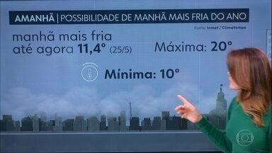 Capital pode ter a manhã mais fria do ano nesta quarta-feira - Noite de terça-feira também será gelada e com possibilidade de garoa.