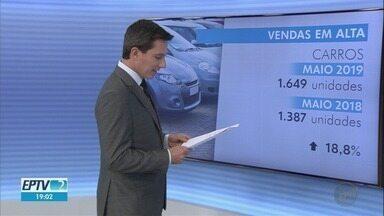 Venda de carros e motos aumentam no mês de maio em Ribeirão Preto, SP - De acordo com a Federação Nacional Distribuição Veículos Automotores (Fenabrave) o número da venda de carros aumentou em 19% em comparação com o mesmo período do ano passado. O crescimento na venda de motos foi de 13,6%.