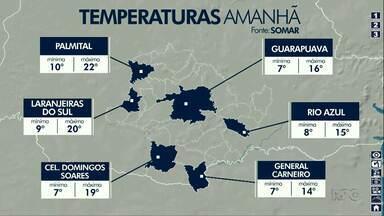 Quarta-feira será mais um dia gelado em Guarapuava - O sol vai aparecer, mas não vai esquentar.
