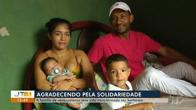Solidariedade santarena faz família recomeçar a vida após 'fuga' da Venezuela - Kenny Monteño, Adeleyns Morales e os dois filhos receberam doações desde que chegaram a Santarém.