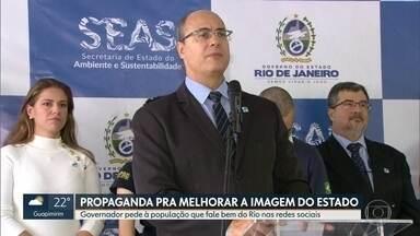 Governador pede à população para falar bem do Rio a fim de melhorar turismo - O governador Wilson Witzel participou nesta quarta (5) de um evento do Dia Mundial do Meio Ambiente e falou, ainda, sobre o programa de limpeza de rios e lagoas no estado.