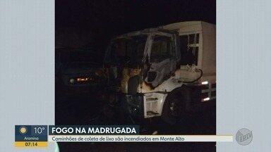 Dois caminhões de coleta de lixo são incendiados em Monte Alto, SP - Cabines ficaram destruídas e Polícia Civil investiga as causas do incêndio.