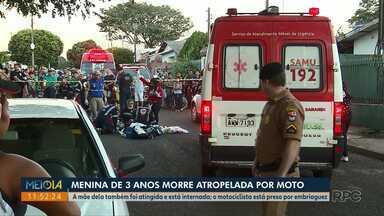 Menina de três anos morre atropelada por moto, em Maringá - A mãe da criança também foi atingida no acidente que aconteceu no último fim de semana.