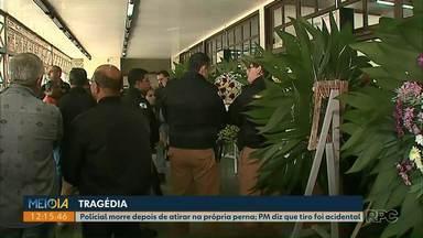 Corpo de policial, que morreu depois de disparo acidental, é enterrado em Ponta Grossa - Marcos James de Matos era sargento da Polícia Militar e morreu na madrugada de domingo (9) depois de atirar acidentalmente contra a própria perna.