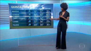 Quinta ensolarada em boa parte do Brasil - Baixa umidade predomina no Centro-Oeste do país.