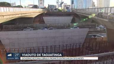 Depois de 14 meses, o governo retoma as obras do viaduto de Taguatinga - A obra foi interrompida por falhas técnicas no projeto. Segundo a Secretaria de Obras, o viaduto vai custar R$5 milhões.
