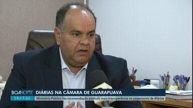 Desde 2017 a Câmara de Vereadores de Guarapuava já gastou R$260 mil em diárias - Ministério Público fez uma recomendação pedindo mais transparência no pagamento de diárias.