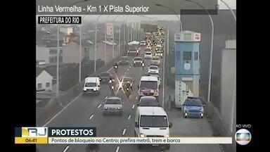 Confira o trânisto do Rio nesta sexta (14) de protestos contra a reforma da Previdência - Trânsito lento em alguns pontos da cidade. Pontos de bloqueio no Centro.