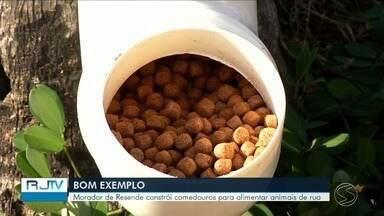 Morador de Resende constrói comedouros para alimentar animais de rua - A ideia é sensibilizar a população para contribuir com a alimentação desses bichinhos.