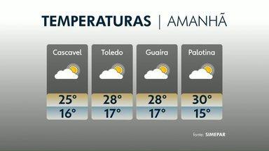 Sol, calor e umidade baixa; essa é a previsão do tempo para esta terça-feira - Em Palotina, os termômetros podem chegar aos 30 graus.