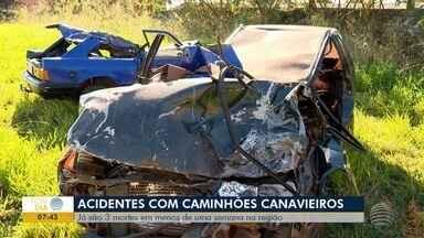 Período de safra de cana pede atenção nas estradas - Três acidentes com vítimas fatais foram registrados na última semana.