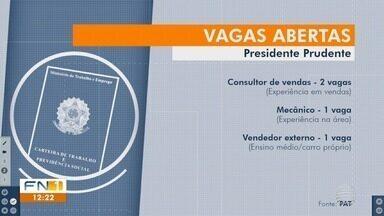 PAT e Sedepp oferecem oportunidades de emprego em Presidente Prudente - Confira as vagas de trabalho disponíveis nesta semana.