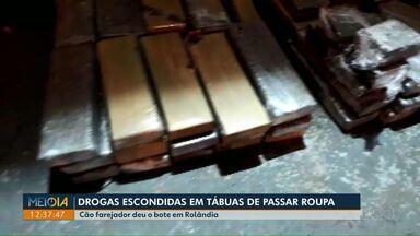 Cão farejador localiza drogas escondidas em tábuas de passar roupa em Rolândia - A apreensão foi na noite de segunda-feira (17).