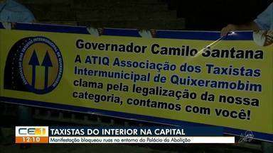 Taxistas do interior fazem manifestação no entorno do Palácio da Abolição - Confira mais notícias em g1.globo.com/ce