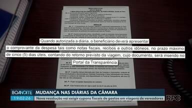 Tem mudança nas diárias da Câmara de Vereadores de Ponta Grossa - Nova resolução vai exigir cupons fiscais de gastos em viagens de vereadores.