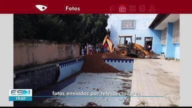 Moradores contestam ação da prefeitura que aterra piscina em Baixo Guandu, ES - Piscina foi construída há menos de 10 anos.