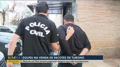 Mais de mil fiéis teriam pago por viagens que não aconteceram - Suspeitos de aplicar o golpe de falsos pacotes de turismo são presos em Curitiba.