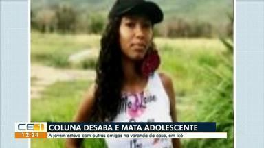 Coluna da varanda de uma casa desaba em Icó e mata adolescente - Confira mais notícias em g1.globo.com/ce