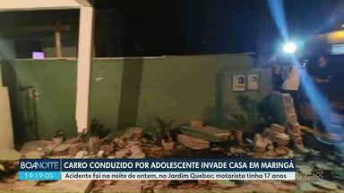 Carro conduzido por adolescente invade casa em Maringá - Acidente foi na noite desta quarta-feira (19), no Jardim Quebec. Motorista tinha 17 anos.