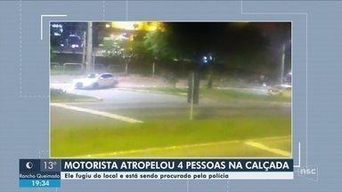 Motorista atropela 4 na calçada em Florianópolis e foge na contramão - Motorista atropela 4 na calçada em Florianópolis e foge na contramão da Av. Beira-Mar Norte