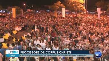 Católicos lotam ruas de Santarém em procissão para celebrar Corpus Christi - Na igreja do Santíssimo uma programação foi preparada para recepcionar os cristãos que percorreram as ruas da cidade em procissão.